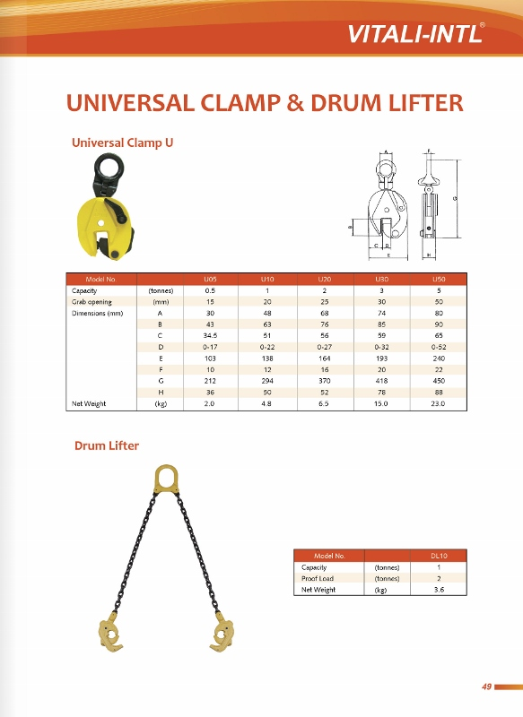 VITALI-INTL Vertical & Horizontal Clamp, Ratchet Puller & Cable Grip Specifications